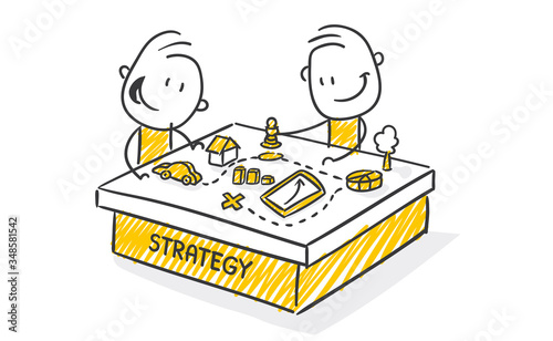 Obraz Strichfiguren / Strichmännchen: Strategy. (Nr. 511) - fototapety do salonu