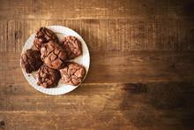 Dark Chocolate Cookies On A Ra...