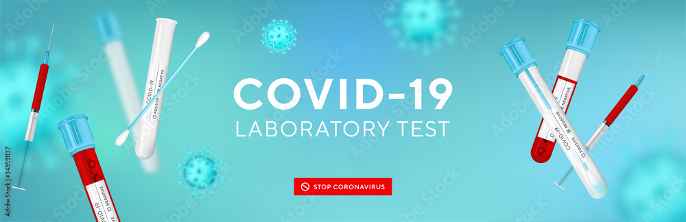 Fototapeta Coronavirus Testing banner with blank space for your creativity. Covid-19 rapid test, 3d virus cells and realistic 3d glass test tube with swab on blue background. Coronavirus disease, Vector.