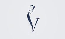 Beauty V Letter Logotype. Mono...