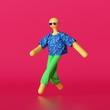 Leinwanddruck Bild - 3d render, abstract cartoon character wearing colorful clothes and sunglasses isolated on red background. Bald toy without face. Funny walking yellow dummy doll, modern minimal design