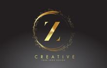 Z Golden Letter Logo With Gold...
