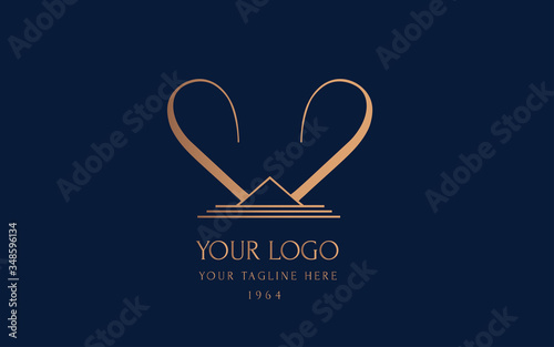 linear logo with initial letter W. Monogram for a beauty center Wallpaper Mural