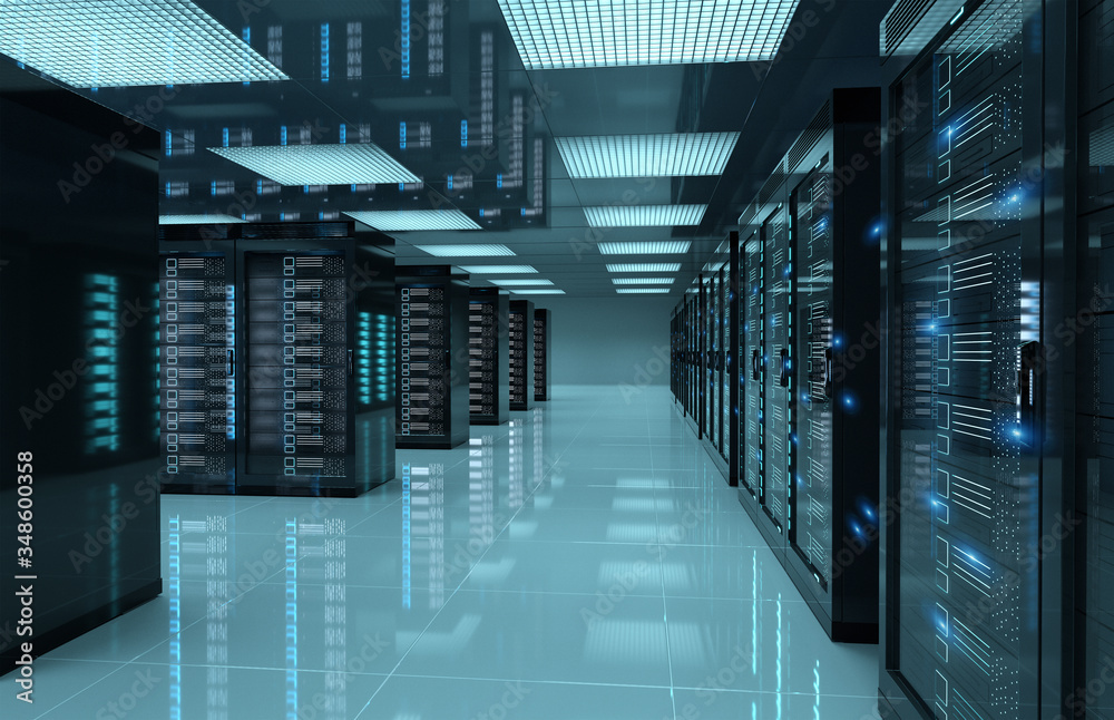 Fototapeta Dark servers center room with computers and storage systems 3D rendering