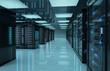 Leinwandbild Motiv Dark servers center room with computers and storage systems 3D rendering