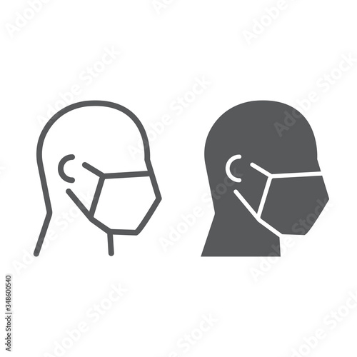 Obraz Man in medical face mask line and glyph icon, covid-19 and protection, medical mask sign vector graphics, a linear icon on a white background. - fototapety do salonu