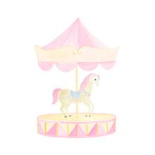 Watercolor Circus Horse And Pi...