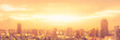 canvas print picture - Rooftop party blur city background of blurry sunrise or happy golden hour sunset evening with heatwave, sunmmer sun heat wave, and cityscape buildings skyline backdrop for June Solstice