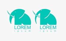 Flat Sign Symbol Logotype Green Elephant