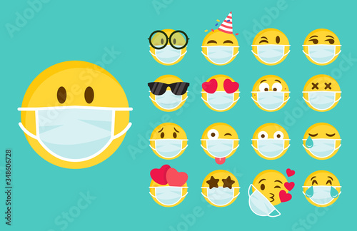 Fototapeta Set of emoji with a medical mask on the face. Different round yellow emoticons protect against the spread of coronavirus. Set of emojis for social networks, self-isolation. Flat vector illustration obraz