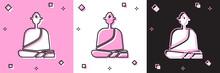 Set Buddhist Monk In Robes Sit...