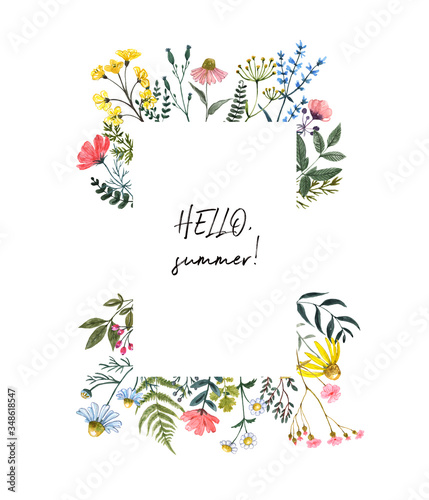 Fototapeta Watercolor wildflower border, isolated on white background. Beautiful summer meadow flowers frame, botanical wreath for cards, invitations. Floral hand drawn illustration obraz