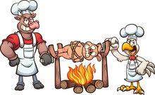 Bull And Chicken Roasting A Tied Up Pig. Vector Cartoon Clip Art Illustration With Simple Gradients. Some Elementsa On Separate Layers.