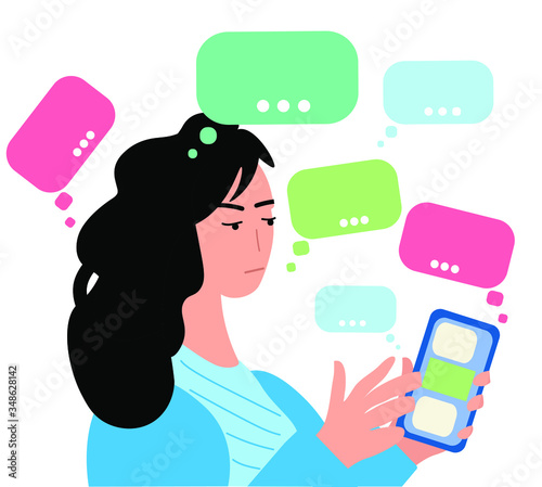 Agitated frowning woman reading spam infprmation in her mobil phone Canvas Print