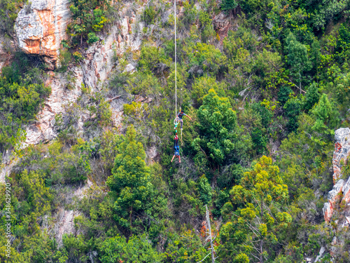 Fotografia, Obraz Bungy jumping Sports in South Africa in Canyon