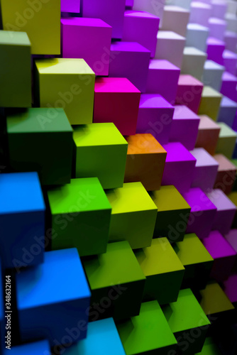 colorful geometric diagonal background, abstract background, vertical. 3D illustration