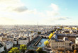 view of Paris from Eiffel Tower from the top of Cathédrale Notre-Dame.