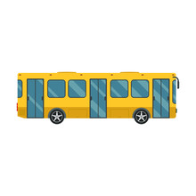 Yellow Bus Icon, On The White Background. Public Transport Concept. Flat Design.
