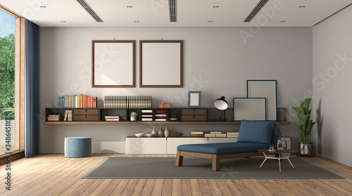 Fotografija Minimalist living room with sideboard and chaise lounge