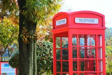 Close-up Of Red Telephone Booth