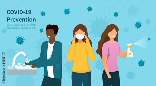 Fotomural Covid-19 or coronavirus prevention protocols concept with diverse people washing