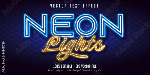 Carta da parati Neon lights text, signage style editable text effect