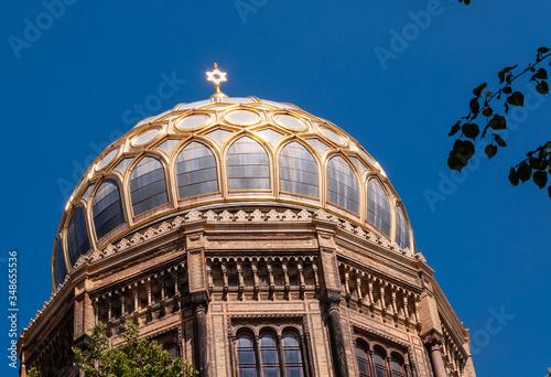 Leinwand Poster Kuppel Neue Synagoge