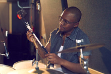 Male Drummer With Drum Brush I...