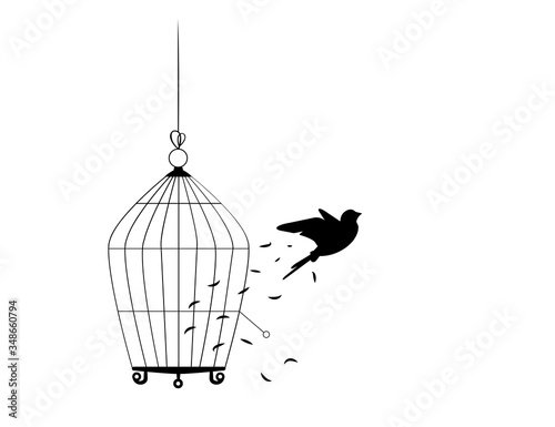Bird flying from the cage, flying bird silhouette, cage illustration, freedom concept, wall decals, wall artwork, poster design isolated on white background Canvas Print