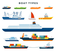 Boat And Ship Types, Set. Water Transport. Vector Illustration In Flat Style.