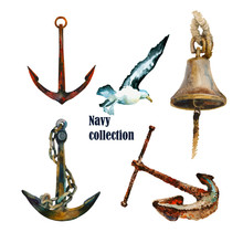Watercolor Nautical Set Of Anchors , Seagull And Ship Bell.Original Hand Painted Illustranion Isolated On A White Background.