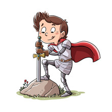 Boy Knight Drawing A Sword Fro...