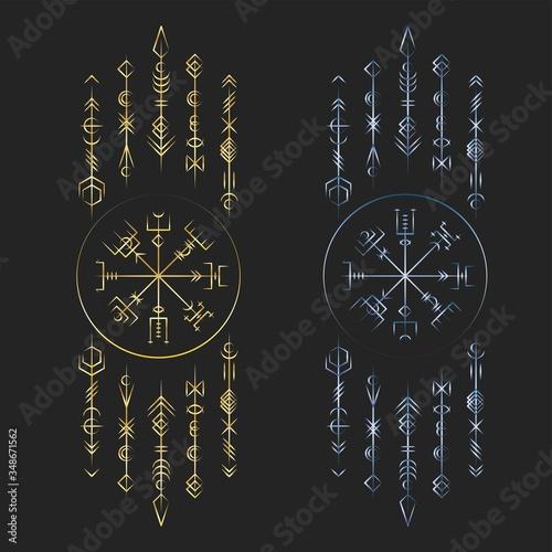 Dark runic symbols dreamer deco Wallpaper Mural