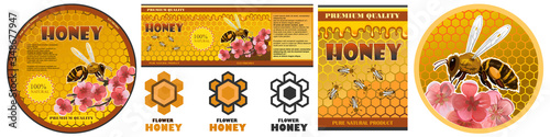 Honey label for jar, pack, packing, packaging Poster Mural XXL