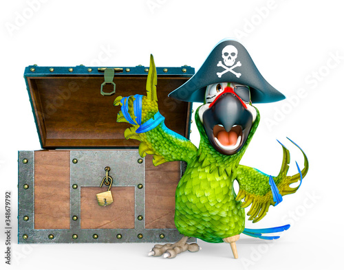 Obraz parrot pirate is talking in front of a treasure chest - fototapety do salonu