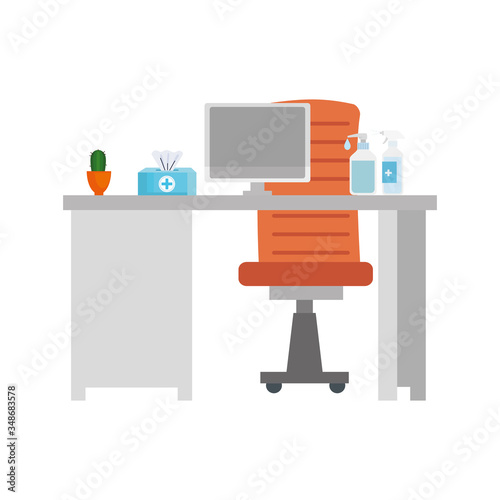 scene of workplace with desk and equipments vector illustration design