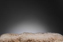 Brown Sheepskin Texture On Gra...