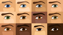 Detailed Flat Vector Illustration Of 12 Different Eye Colors. World Sight Day. Feel Free To Use Only Parts Of The Illustration Too.