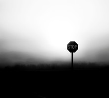 Stop Sign On Field During Foggy Weather