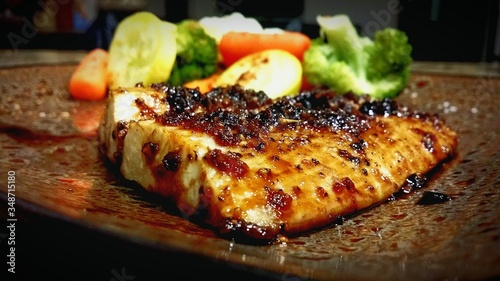 Close-up Of Ginger Glazed Mahi Mahi Served In Plate Canvas