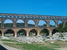 Pont Du Gard Against Clear Blue Sky