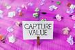 Leinwandbild Motiv Text sign showing Capture Value. Business photo showcasing Customer Relationship Satisfy Needs Brand Strength Retention