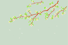 Vector Marble Mural Background Light Simple Green Wallpaper . Birds In Branches Flowers Floral Background With Flowers And Herbs