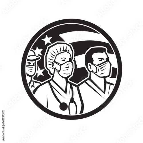 Obraz Icon retro style illustration of American healthcare provider, medical care worker, nurse or doctor as heroes wearing surgical mask with United States of America flag done in black and white. - fototapety do salonu