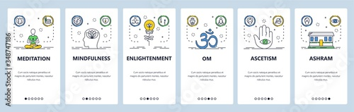 Meditation website and mobile app onboarding screens vector template Canvas Print