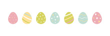 Cute Vector Easter Egg Pastel Colors Set, Collection With Dots, Stars, Stripes, Hearts Ornaments.