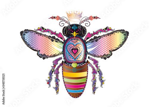 Obraz na plátně bunt schillernde Bienenkönigin mit Krone
