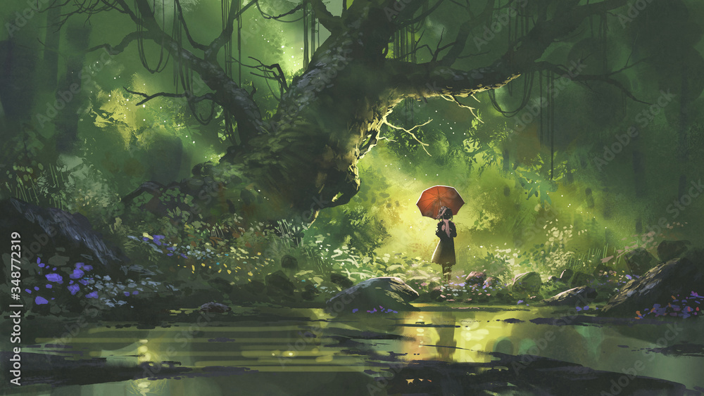 Fototapeta mysterious woman with umbrella standing in forest, digital art style, illustration painting