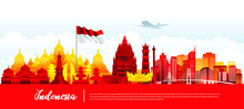 Vector Design Ilustration Of Indonesia Landmark And Flag. Indonesia Garden Theme And Travel Concept.
