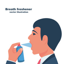 A Young Man Uses Breath Freshe...